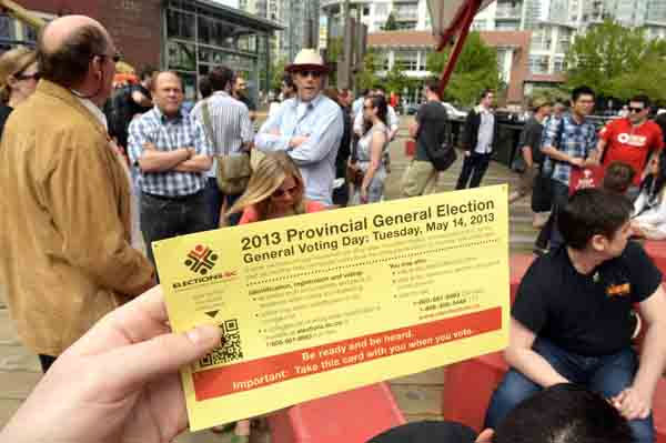 May 10 vote mob at Vancouver's Roundhouse, where over 400 people lined up to cast ballots early. Which party gets highest turnout may decide riding races tightened in past weeks. Photo: Joshua Berson