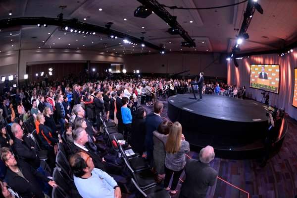 Fooled by prediction: NDP members hear from Adrian Dix on election night. Photo by Joshua Berson