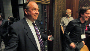 Andrew Weaver, first Green MLA in B.C., on May 14 election night. Photo by Robert Alstead, Running on Climate.
